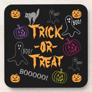 Trick-or-Treat Halloween Pumpkin Ghost Cat Coasters