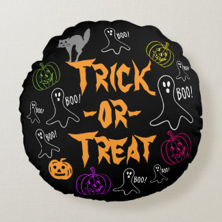 Trick-or-Treat Halloween Pumpkin Ghost Cat Round Pillow
