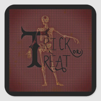 Trick or Treat Halloween Skeleton Grim Collage Square Sticker