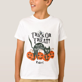trick or treat happy halloween boo t shirt name