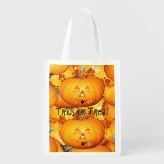 Trick or Treat Happy Halloween Pumpkins Reusable Grocery Bag
