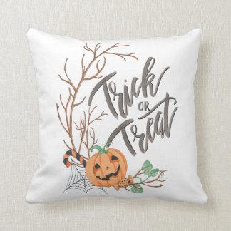 Trick or Treat Illustration Throw Pillow