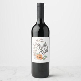 Trick or Treat Illustration Wine Label