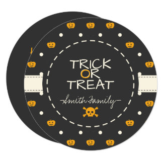 Trick Or Treat. Jack O Lantern White Polka Dots Card