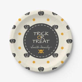 Trick Or Treat. Jack O Lantern White Polka Dots Paper Plate