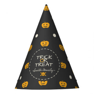Trick Or Treat. Jack O Lantern White Polka Dots Party Hat