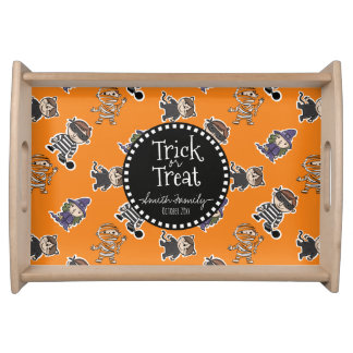 Trick or Treat. Kids in Costume. Serving Trays
