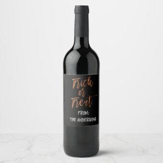 Trick or Treat Modern Halloween Wine Bottle Label