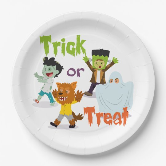 Trick or Treat Monster Costume Kids 9 Inch Paper Plate