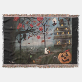 Trick or Treat Night Painting Throw Blanket