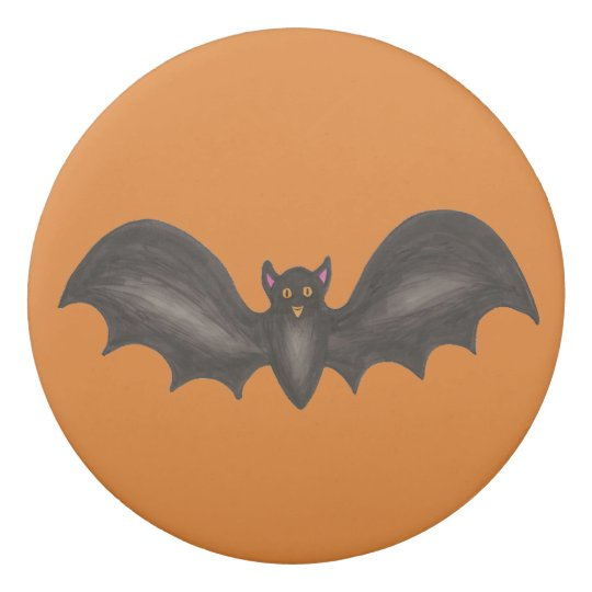 Trick or Treat Orange Black Spooky Bat Halloween Eraser