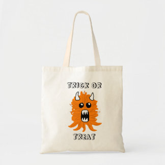 """Trick or Treat"" Orange Monster Halloween Tote Budget Tote Bag"