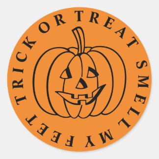 Trick or Treat Pumpkin Round Sticker