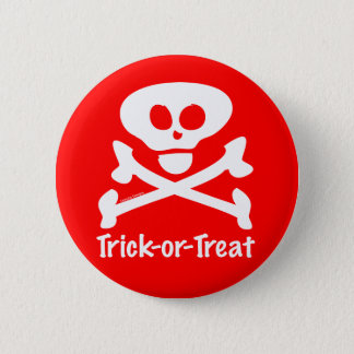 Trick-or-Treat Skull Crossones 2 Inch Round Button
