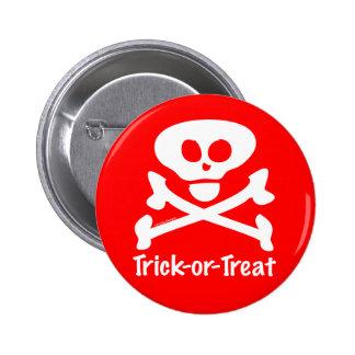 Trick-or-Treat Skull Crossones 2 Inch Round Button
