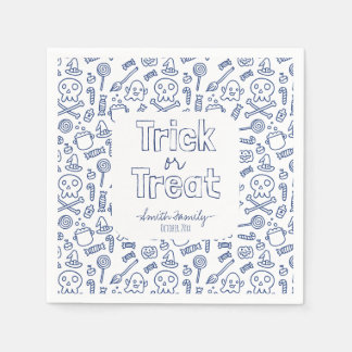 Trick or Treat Skulls Ghosts Witches and Candy Paper Napkins