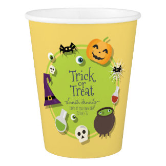 Trick or Treat. Skulls Pumpkins Witches & Spiders. Paper Cup