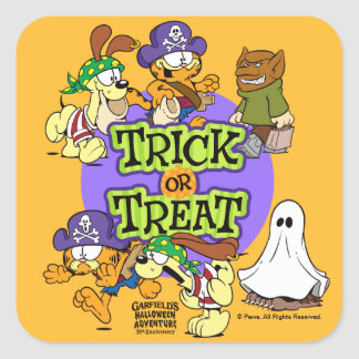 Trick-or-Treat Square Sticker
