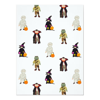 """Trick or Treat Toddlers Halloween Monsters Repeat 6.5"""" X 8.75"""" Invitation Card"""