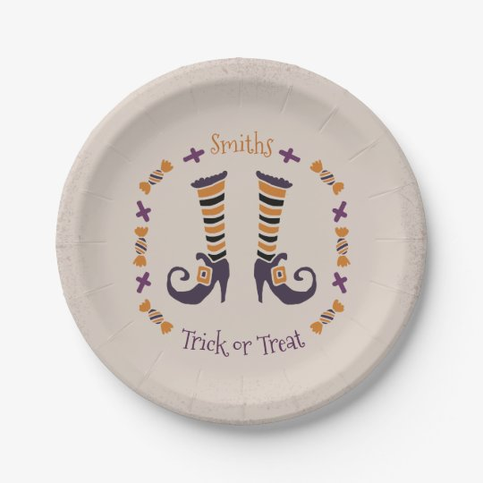 Trick or Treat. Whimsical Witch's Legs. Paper Plate