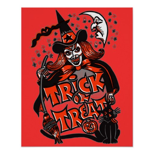 Trick or Treat Witch Halloween (vintage) Print