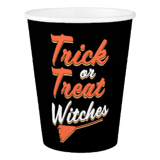 Trick or Treat Witches funny Halloween cups