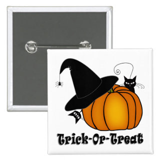 """Trick-Or-Treat!"" Witch's Hat, Cats, Pumpkin 2 Inch Square Button"