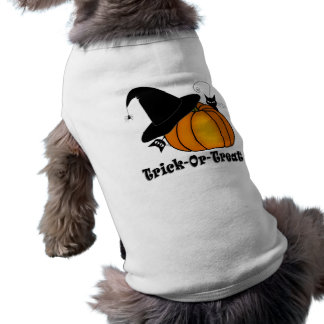 """""""Trick-Or-Treat!"""" Witch's Hat, Cats, Pumpkin Doggie Tshirt"""
