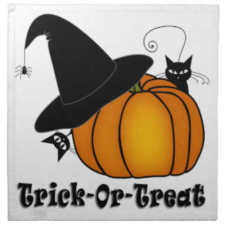 """Trick-Or-Treat!"" Witch's Hat, Cats, Pumpkin Printed Napkins"