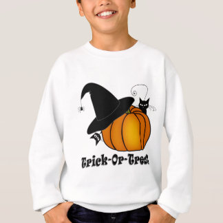 """Trick-Or-Treat!"" Witch's Hat, Cats, Pumpkin Sweatshirt"