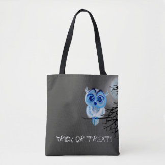 """""""Trick or treat"""" with blue baby owl Tote Bag"""