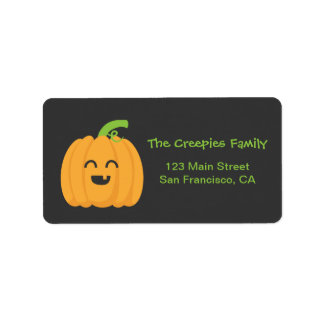 Trick or Treat with Cute Pumpkin for Halloween Label