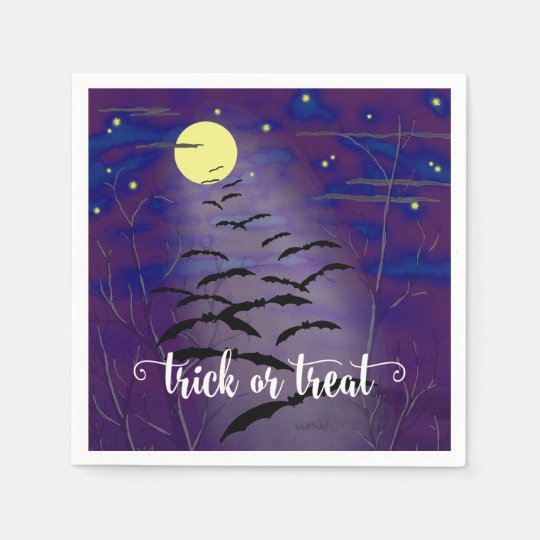 Trick or Treat with Full Moon and Bats Halloween Paper Napkin