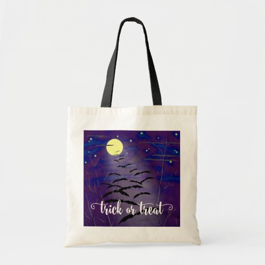 Trick or Treat with Full Moon and Bats Halloween Tote Bag