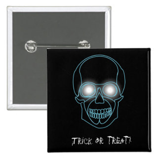 """""""Trick or treat""""  with neon skull 2 Inch Square Button"""