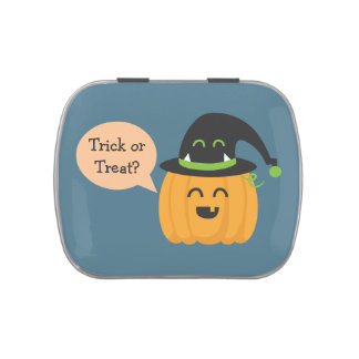 Trick or Treat with Pumpkin and hat for Halloween