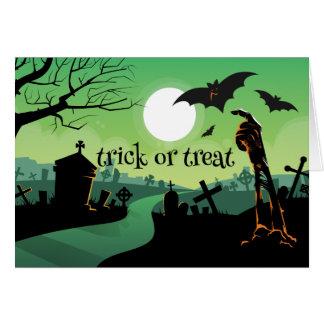 Trick or Treat Zombie Graveyard Bat Halloween Card