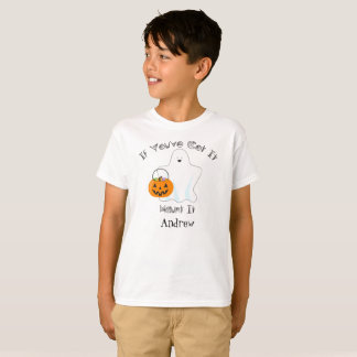Trick or Treating Ghost Personalized Halloween Tee