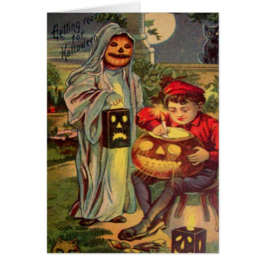 Trick R' Treat Ghost Jack O Lantern Pumpkin Card