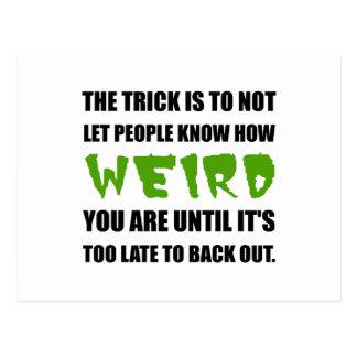 Trick Weird Back Out Black Postcard