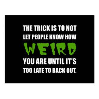 Trick Weird Back Out Postcard