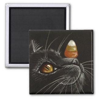 Trick with Treats! - Black Cat & Candy Corn Magnet