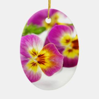 Tricolor   anniversary   flower   Pansy   cute   B Ceramic Ornament