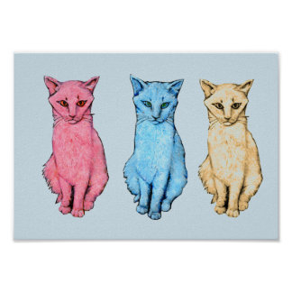 Tricolor Cats Poster