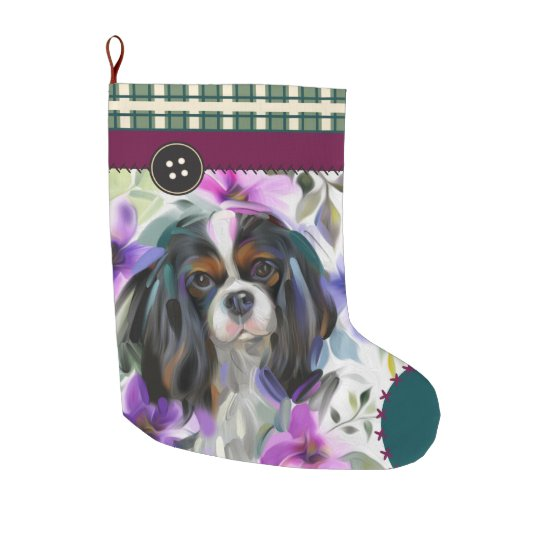 Tricolor Cavalier Christmas Stocking | chequered