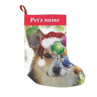 Tricolor Christmas Corgi Small Christmas Stocking