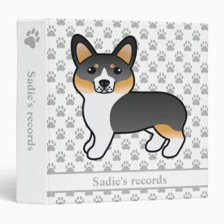 Tricolor Coat Pembroke Welsh Corgi Dog Pet Records 3 Ring Binders