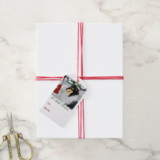 Tricolor Collie Meets Santa Christmas Gift Tags