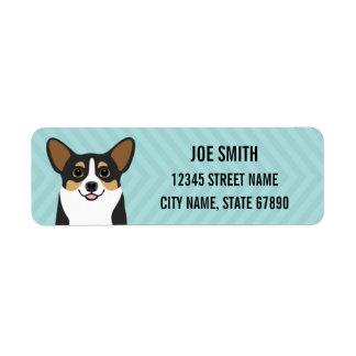 Tricolor Corgi Dog Blue Return Address Label
