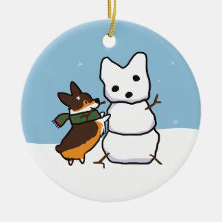 Tricolor Corgi Snowman Ornament | CorgiThings